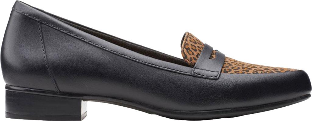 Women's Clarks Juliet Coast Penny Loafer, Black/Leopard Leather/Synthetic, large, image 2