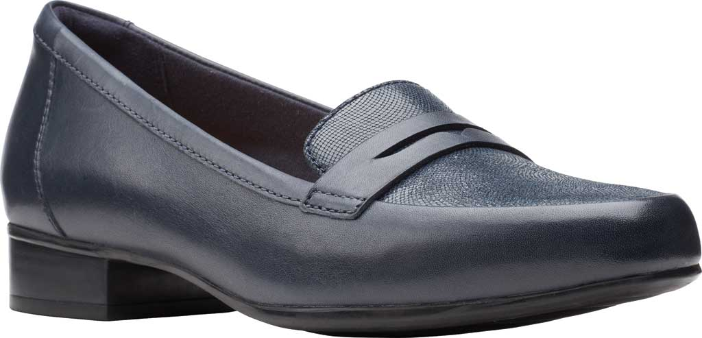 Women's Clarks Juliet Coast Penny Loafer, Navy Leather/Suede, large, image 1