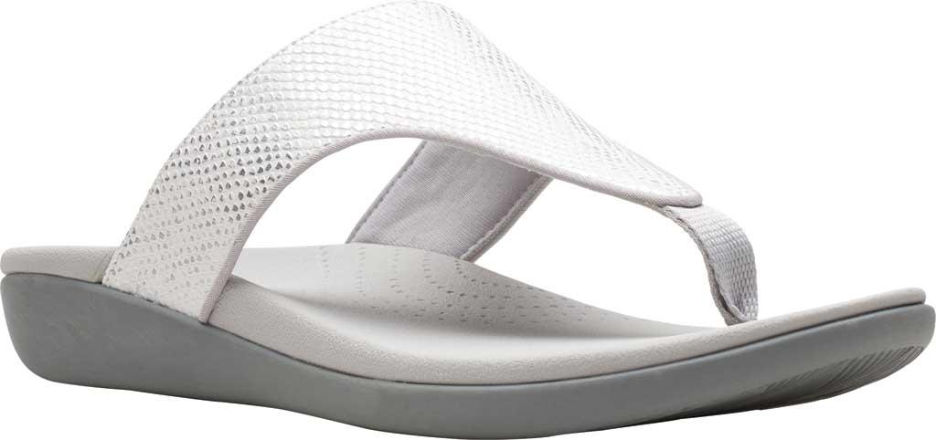 Women's Clarks Brio Vibe Thong Sandal, White Snake Synthetic, large, image 1