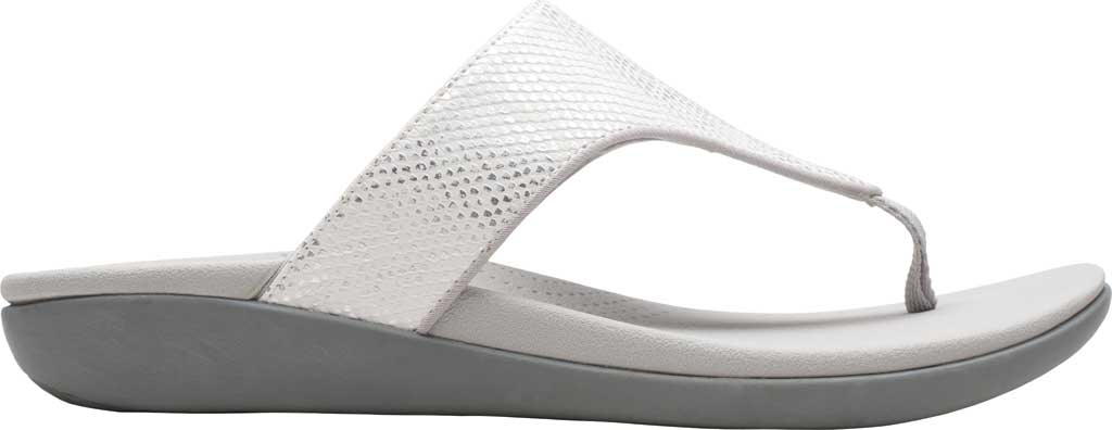 Women's Clarks Brio Vibe Thong Sandal, White Snake Synthetic, large, image 2