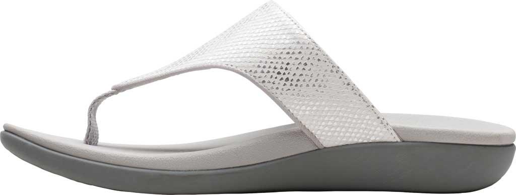 Women's Clarks Brio Vibe Thong Sandal, White Snake Synthetic, large, image 3