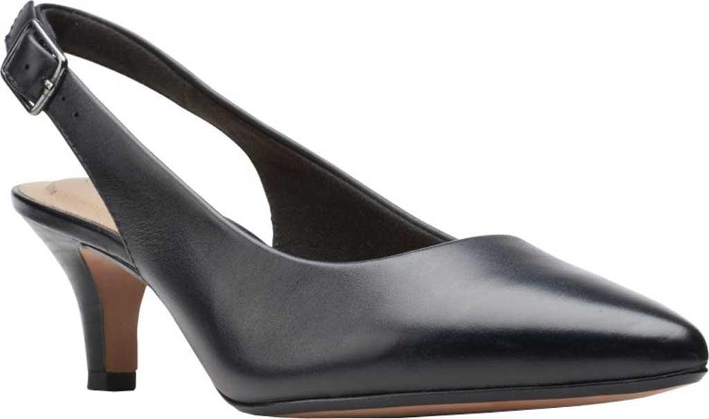 Women's Clarks Linvale Sondra Pointed Toe Slingback, Black Full Grain Leather, large, image 1
