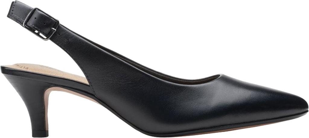 Women's Clarks Linvale Sondra Pointed Toe Slingback, Black Full Grain Leather, large, image 2