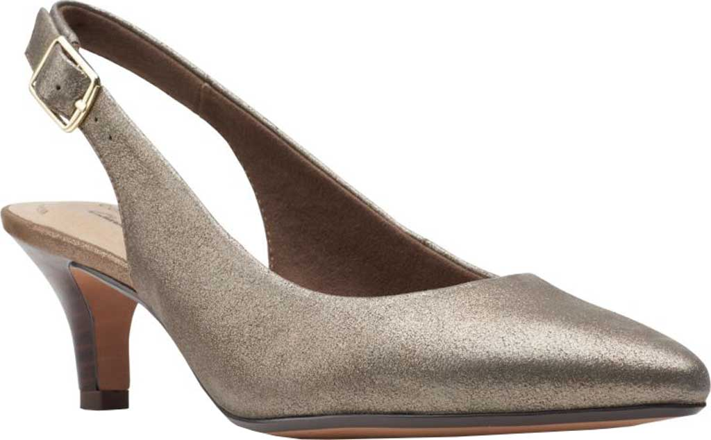 Women's Clarks Linvale Sondra Pointed Toe Slingback, Metallic Full Grain Leather, large, image 1