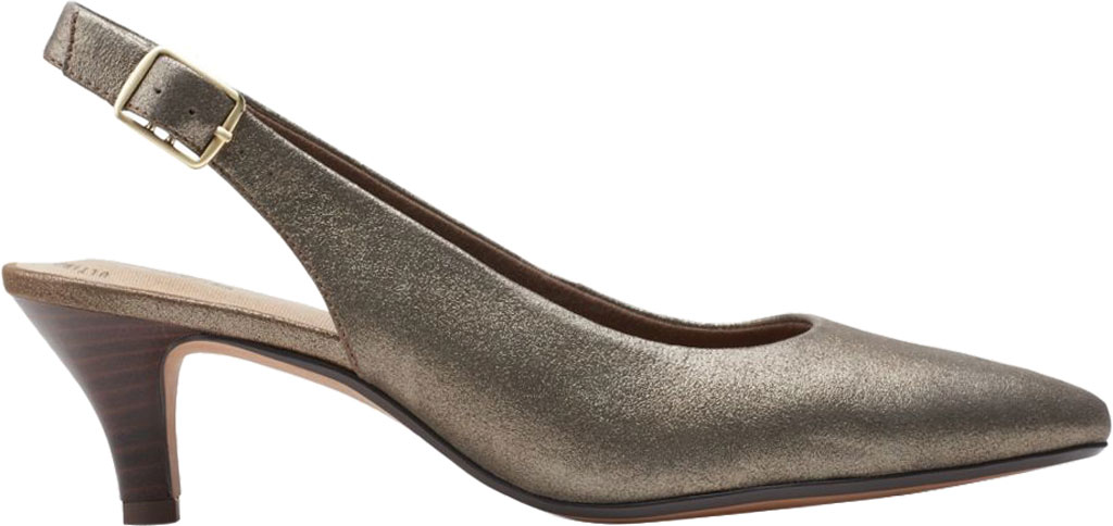 Women's Clarks Linvale Sondra Pointed Toe Slingback, Metallic Full Grain Leather, large, image 2