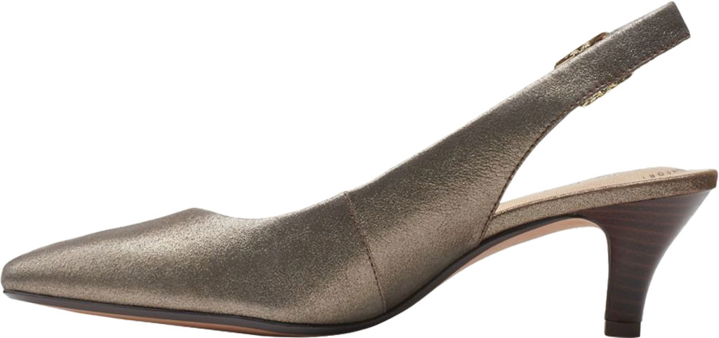 Women's Clarks Linvale Sondra Pointed Toe Slingback, Metallic Full Grain Leather, large, image 3