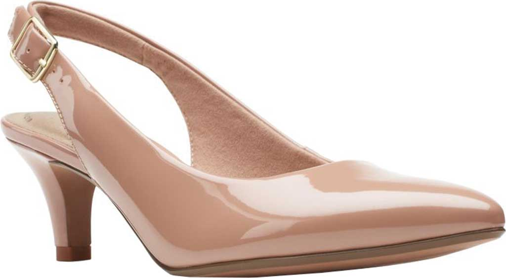 Women's Clarks Linvale Sondra Pointed Toe Slingback, Praline Patent Synthetic, large, image 1