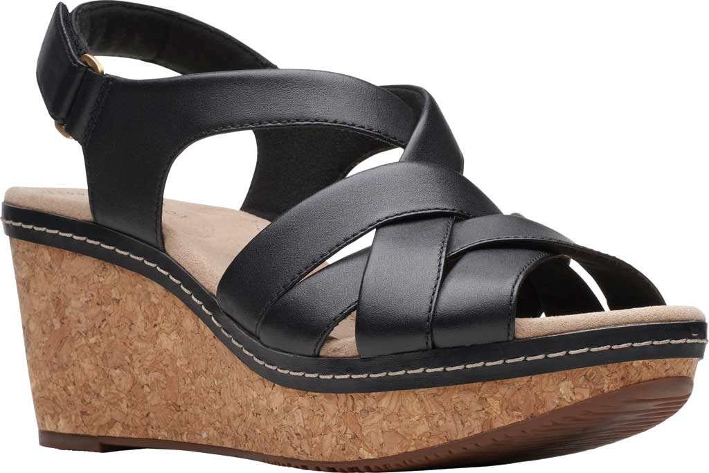 Women's Clarks Annadel Rayna Wedge Sandal, Black Leather, large, image 1
