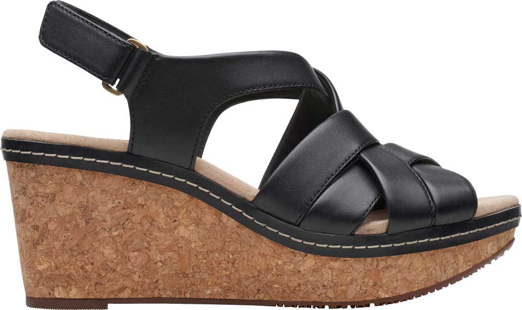 Women's Clarks Annadel Rayna Wedge Sandal, Black Leather, large, image 2