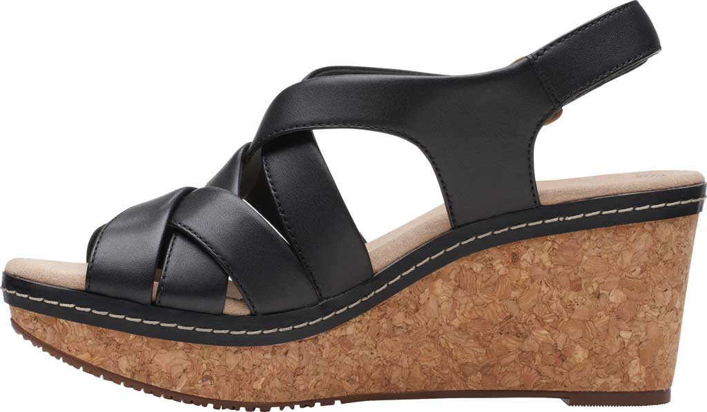 Women's Clarks Annadel Rayna Wedge Sandal, Black Leather, large, image 3