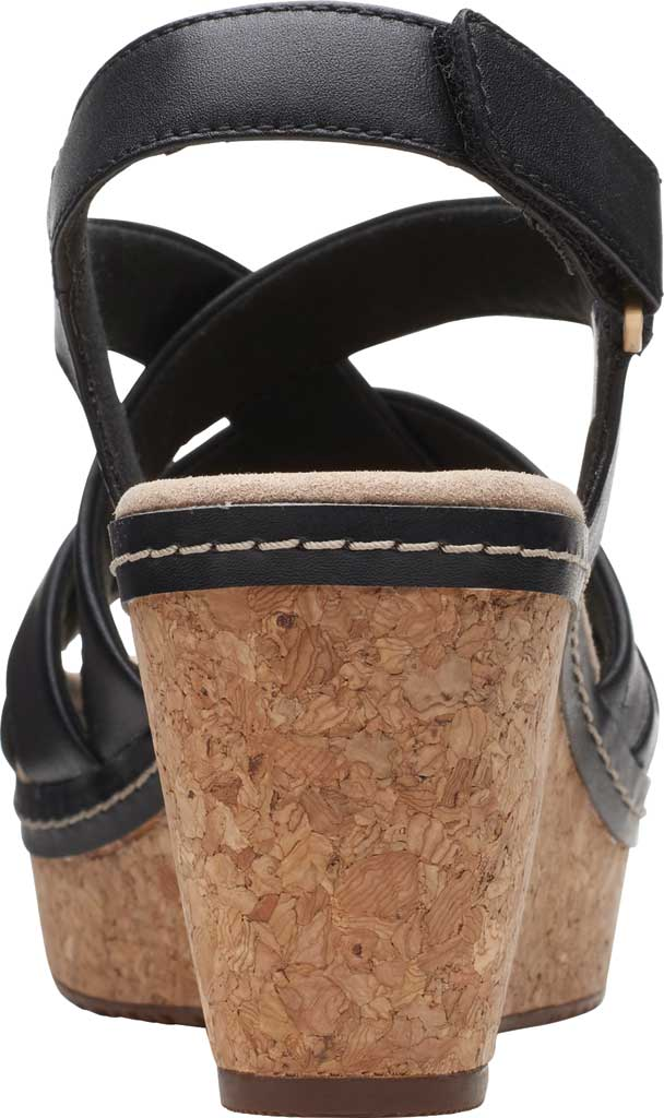 Women's Clarks Annadel Rayna Wedge Sandal, Black Leather, large, image 4