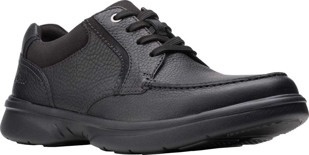 Men's Clarks Bradley Vibe Moc Toe Oxford, Black Tumbled Leather, large, image 1