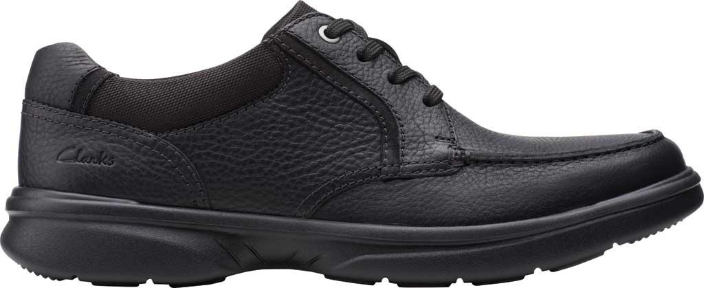 Men's Clarks Bradley Vibe Moc Toe Oxford, Black Tumbled Leather, large, image 2