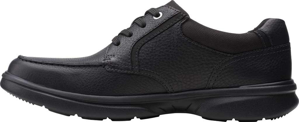 Men's Clarks Bradley Vibe Moc Toe Oxford, Black Tumbled Leather, large, image 3