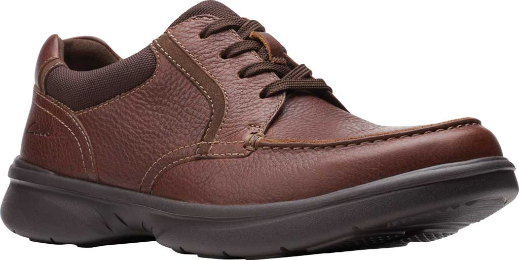 Men's Clarks Bradley Vibe Moc Toe Oxford, Tan Tumbled Leather, large, image 1