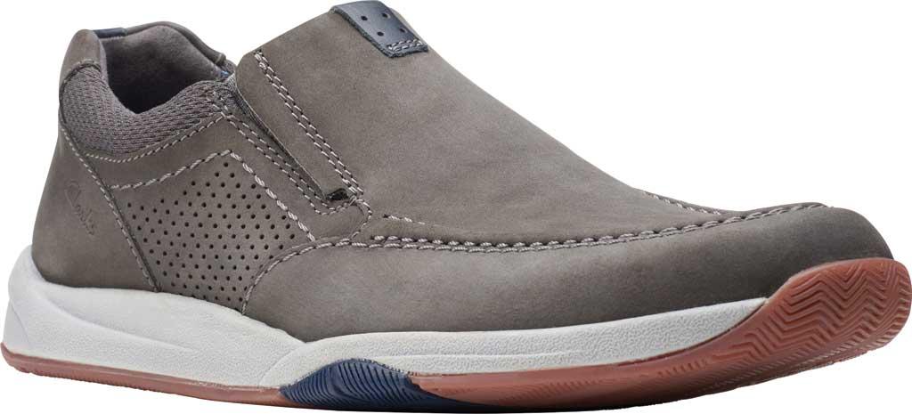 Men's Clarks Langton Step Slip On Sneaker, Grey Nubuck/Textile, large, image 1