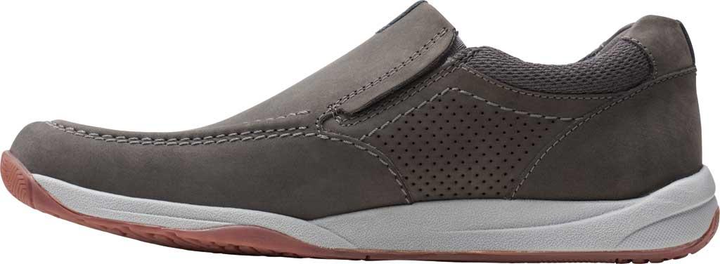 Men's Clarks Langton Step Slip On Sneaker, Grey Nubuck/Textile, large, image 3