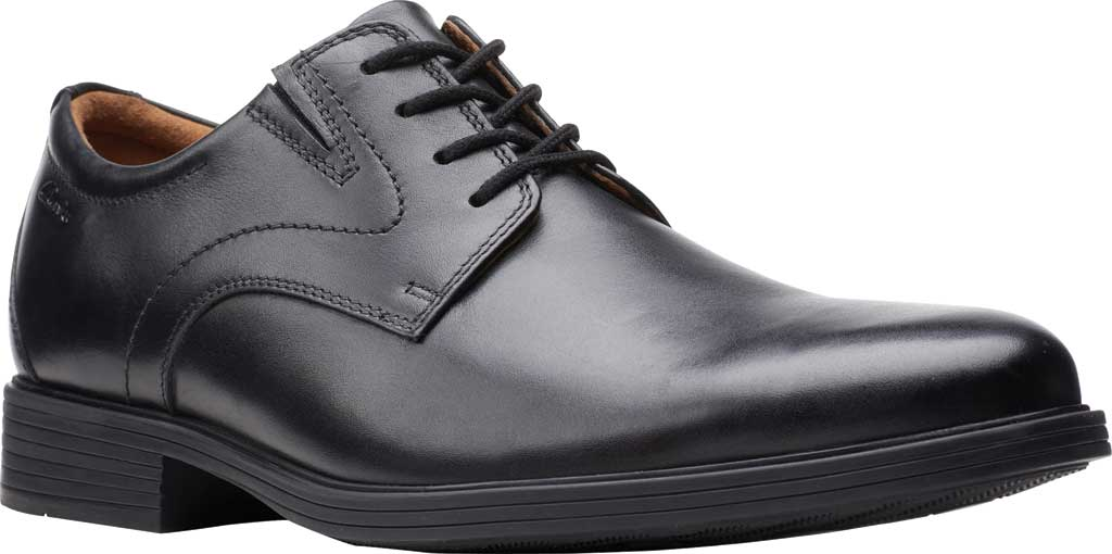 Men's Clarks Whiddon Vibe Plain toe Oxford, Black Full Grain Leather, large, image 1