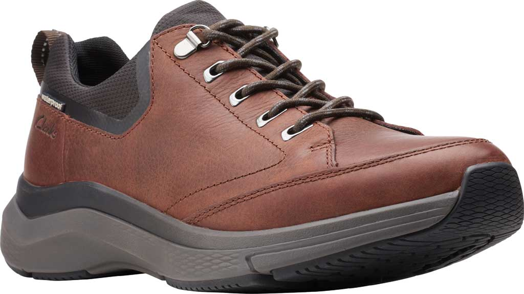 Men's Clarks Wave 2.0 Vibe Sneaker, Brown Oily Tumbled Leather, large, image 1