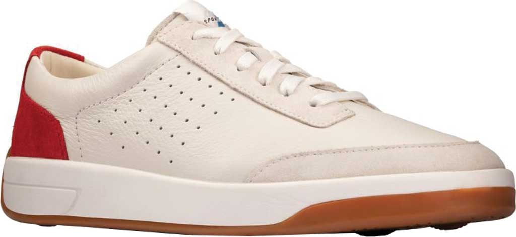 Men's Clarks Hero Air Lace Sneaker, White/Red Combination Leather, large, image 1