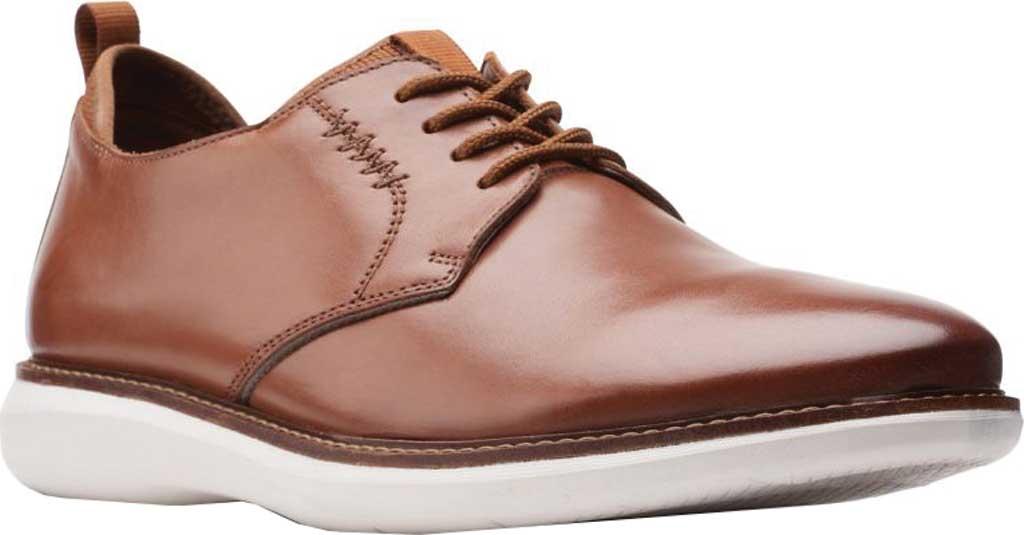 Men's Clarks Brantin Low Plain Toe Oxford, Dark Tan Full Grain Leather, large, image 1