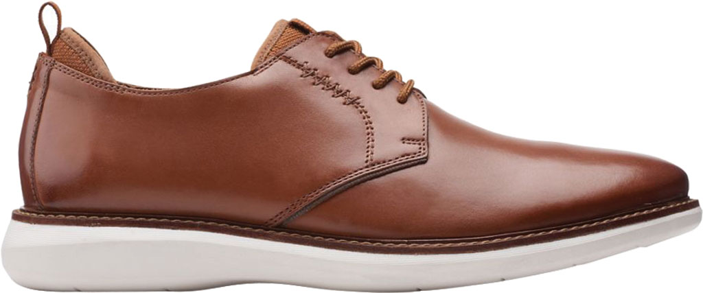Men's Clarks Brantin Low Plain Toe Oxford, Dark Tan Full Grain Leather, large, image 2