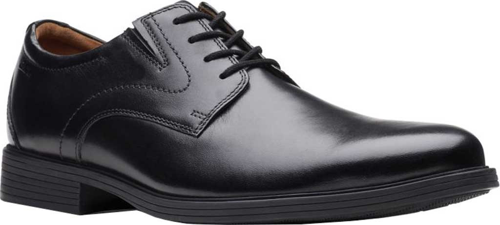 Men's Clarks Whiddon Plain Toe Oxford, Black Full Grain Leather, large, image 1