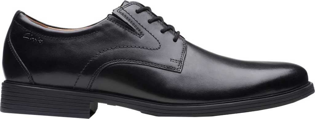 Men's Clarks Whiddon Plain Toe Oxford, Black Full Grain Leather, large, image 2
