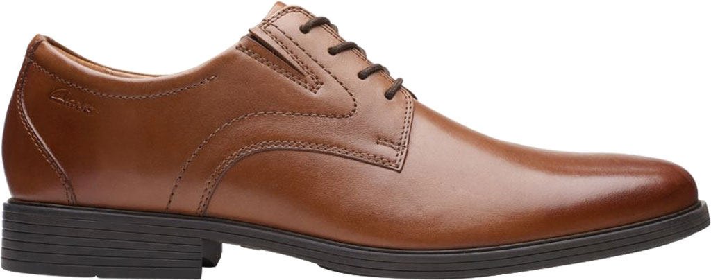Men's Clarks Whiddon Plain Toe Oxford, Dark Tan Full Grain Leather, large, image 2