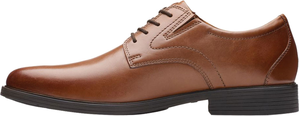 Men's Clarks Whiddon Plain Toe Oxford, Dark Tan Full Grain Leather, large, image 3