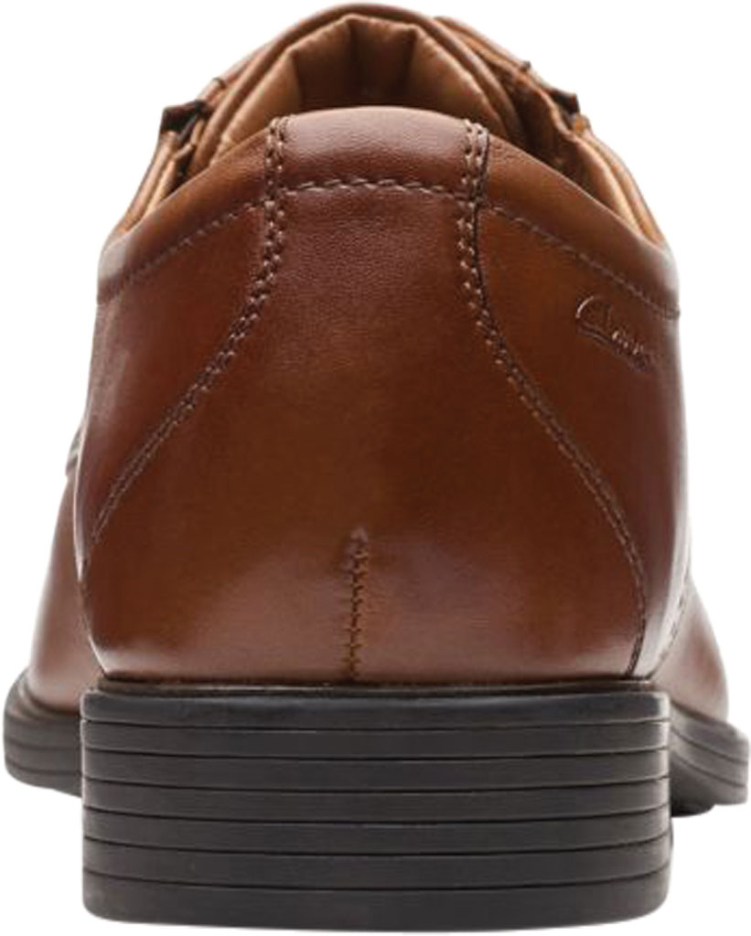 Men's Clarks Whiddon Plain Toe Oxford, Dark Tan Full Grain Leather, large, image 4