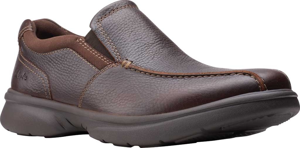 Men's Clarks Bradley Step Bicycle Toe Slip On, Brown Tumbled Leather, large, image 1