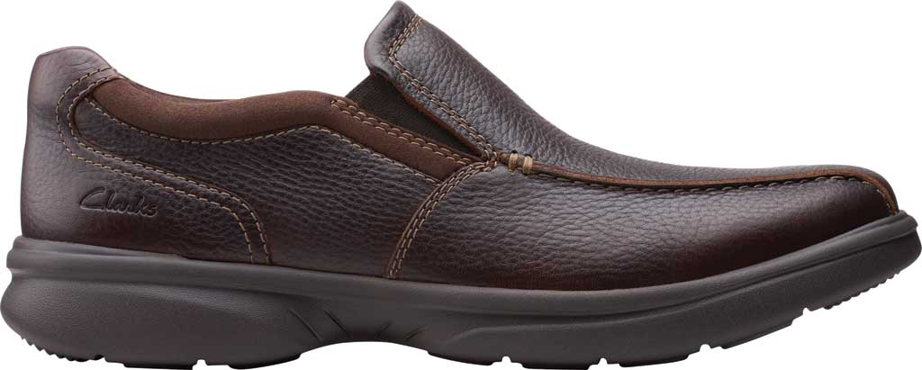 Men's Clarks Bradley Step Bicycle Toe Slip On, Brown Tumbled Leather, large, image 2