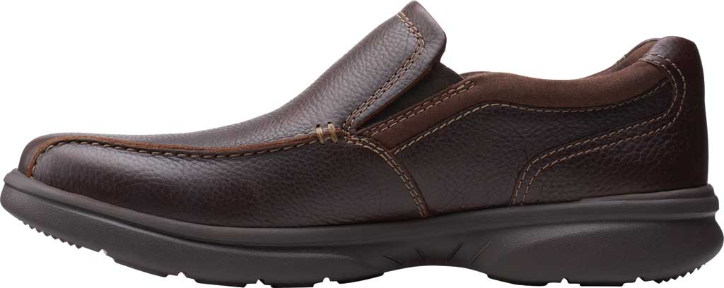 Men's Clarks Bradley Step Bicycle Toe Slip On, Brown Tumbled Leather, large, image 3