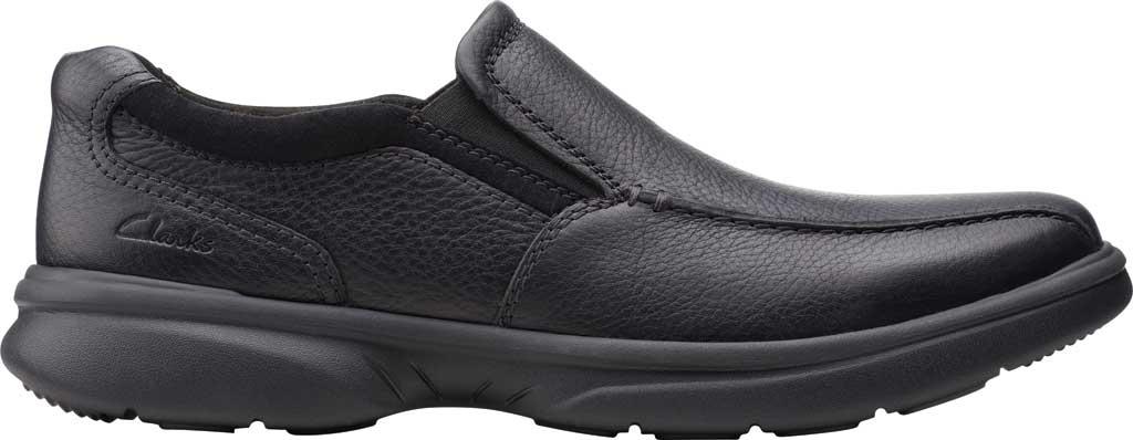 Men's Clarks Bradley Step Bicycle Toe Slip On, Black Tumbled Leather, large, image 2