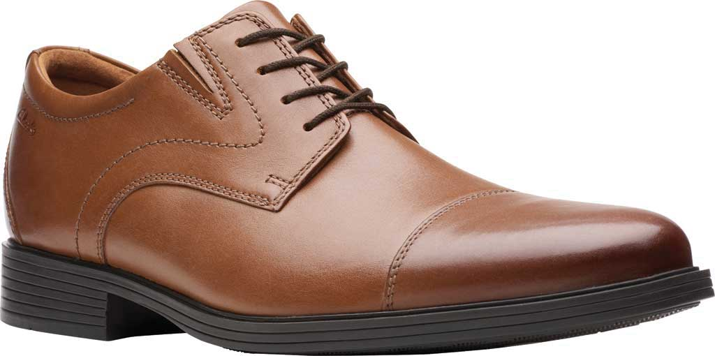 Men's Clarks Whiddon Cap Toe Oxford, Dark Tan Full Grain Leather, large, image 1