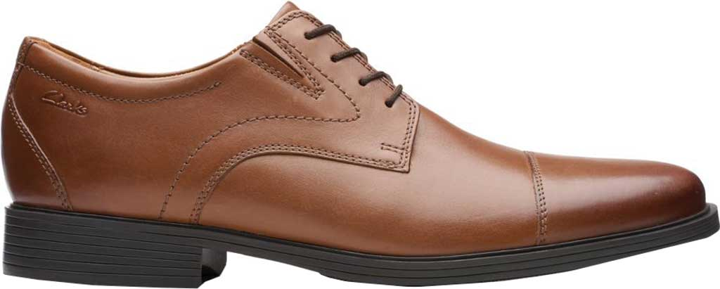 Men's Clarks Whiddon Cap Toe Oxford, Dark Tan Full Grain Leather, large, image 2