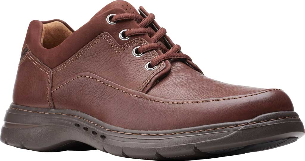 Men's Clarks Un Brawley Lace Oxford, Mahogany Tumbled Leather, large, image 1