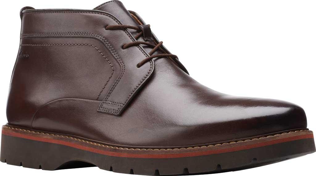 Men's Clarks Bayhill Mid Chukka Boot, Dark Brown Full Grain Leather, large, image 1