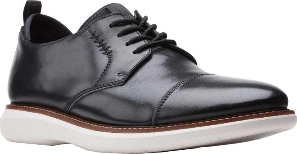 Men's Clarks Brantin Cap Toe Oxford, Black Full Grain Leather, large, image 1
