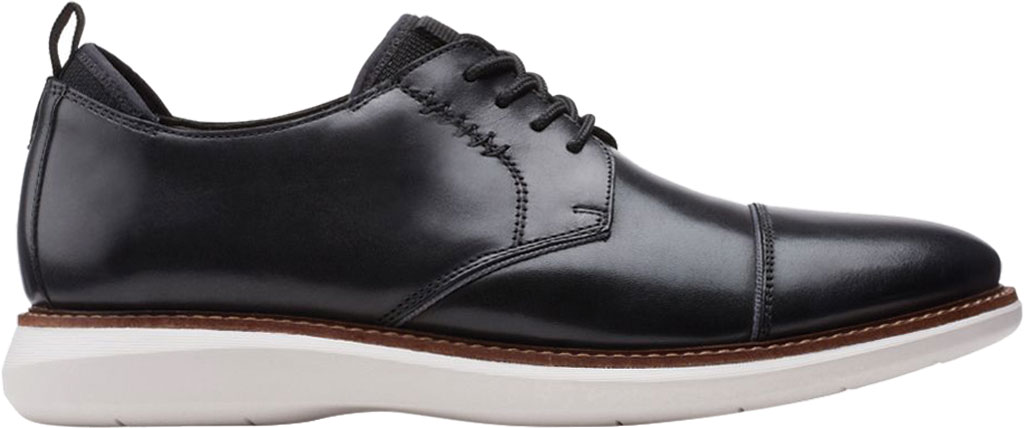 Men's Clarks Brantin Cap Toe Oxford, Black Full Grain Leather, large, image 2