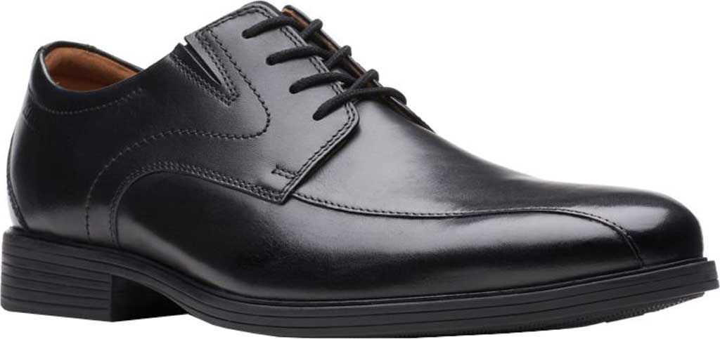 Men's Clarks Whiddon Pace Bicycle Toe Oxford, Black Full Grain Leather, large, image 1