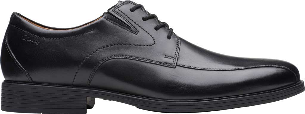 Men's Clarks Whiddon Pace Bicycle Toe Oxford, Black Full Grain Leather, large, image 2