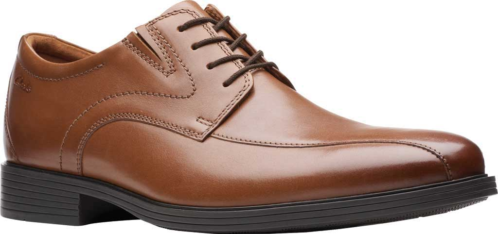 Men's Clarks Whiddon Pace Bicycle Toe Oxford, Dark Tan Full Grain Leather, large, image 1