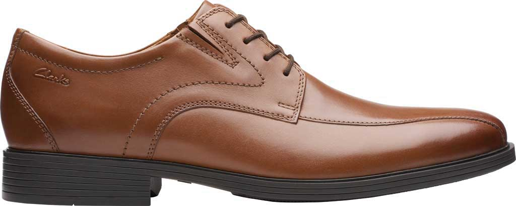 Men's Clarks Whiddon Pace Bicycle Toe Oxford, Dark Tan Full Grain Leather, large, image 2