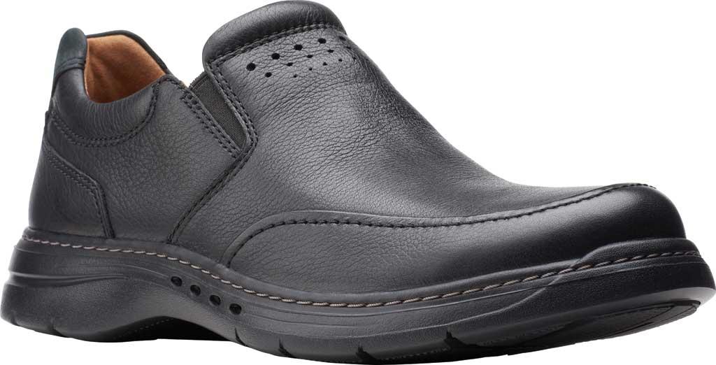Men's Clarks Un Brawley Step Slip On, Black Tumbled Leather, large, image 1