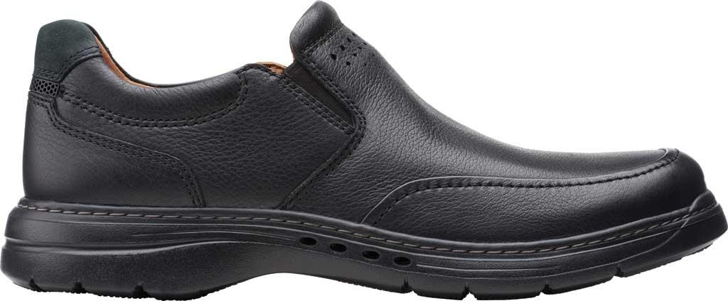 Men's Clarks Un Brawley Step Slip On, Black Tumbled Leather, large, image 2