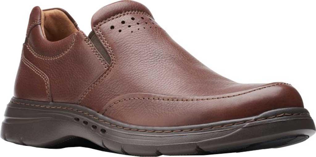 Men's Clarks Un Brawley Step Slip On, Mahogany Tumbled Leather, large, image 1