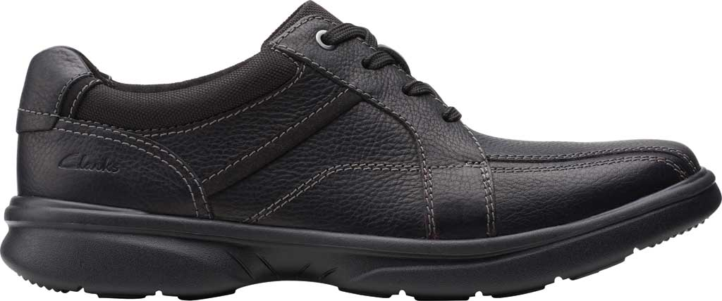 Men's Clarks Bradley Walk Oxford, Black Tumbled Leather, large, image 2