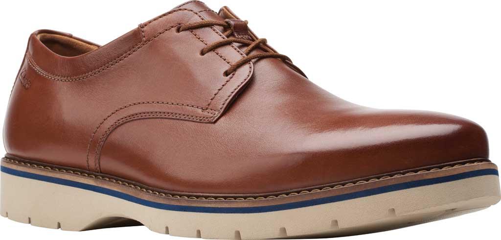 Men's Clarks Bayhill Plain Toe Oxford, Tan Full Grain Leather, large, image 1